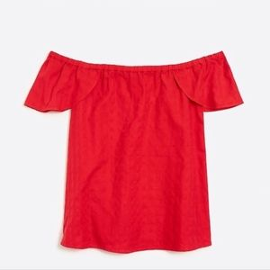 NWOT J. Crew Factory Red Textured Off The Shoulder
